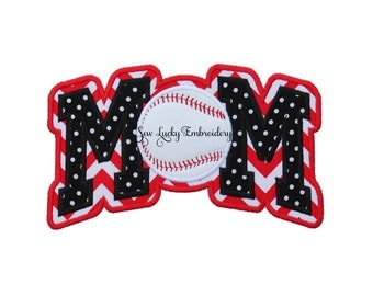 MOM Baseball Style 2 Appliqued Embroidered Patch, Sew or Iron on