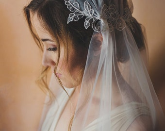 Wedding Juliet cap lace veil, French point d'esprit lace, cathedral length - style 114