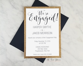 Engagement Announcements, Gold and navy Engagement Invite, Navy Blue Engagement invitatioins, Glitter Engagement Announcement, Harper