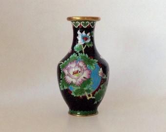 Vintage Cloisonne Vase, Black Background, Green Floral