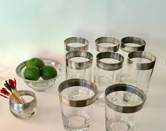 Assorted Dorothy Thorpe Barware, Silver Rim Barware, Set of 10