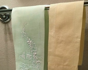 Two Vintage Pastel Green and Yellow Decorative Hand Towels Embroidered and Pulled Stitch