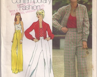 Jacket Elastic At Cuff And Lower Band Front Zipper Pants Stretch Knit Halter Top Size 10 Blouse Shirt Sewing Pattern 1973 Simplicity 5510