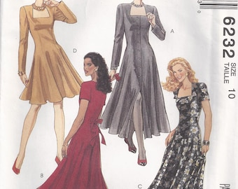 Semi Fitted Square Neck Dress Front Buttoned Or Back Zipper Size 10 Sewing Pattern 1992 McCall's 6232