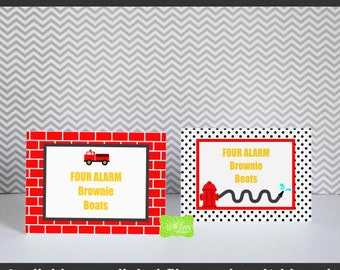 Firetruck Tented Cards - Red Firetruck Food Labels - Firetruck Placecards - Firefighter Tented Food Cards - Digtal & Printed