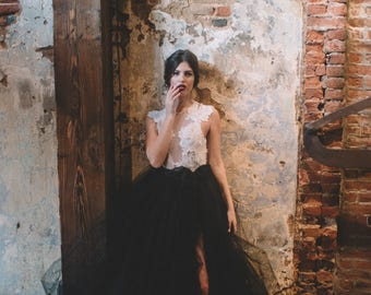 Wedding Separates - Iris Wrap Skirt - Tulle Skirt - Black Wedding Dress - Sheer Wedding Dress - High Slit - Wrap Wedding Dress