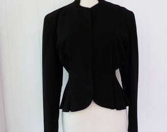 40's Sculpted New Look Black Suit Jacket Nipped Wasp Waist Strong Shoulder Jaunty Junior Open Front Blazer S M