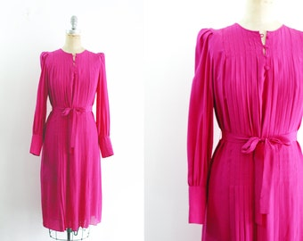 Vintage 1980s Fuchsia Silk Dress Pink Pleated Dress Pink 80s Dress Fuchsia Dress Fuchsia Pleated Dress 20s Dress Downton Abbey Medium