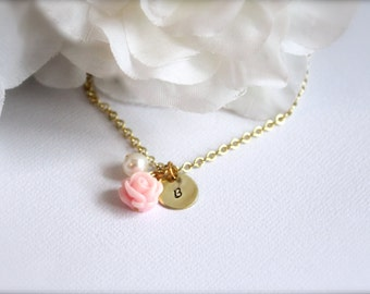 Real Pearl, Gold Personalized Initial Hand Stamped Light Pink Flower Cabochon Charm, Girls Necklace, Flower Girl Gift - FREE Gift Packaging