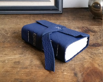 Chunky Leather Journal, Blue Hand-Bound 3 x 4.5 Journal by The Orange Windmill on Etsy 1802