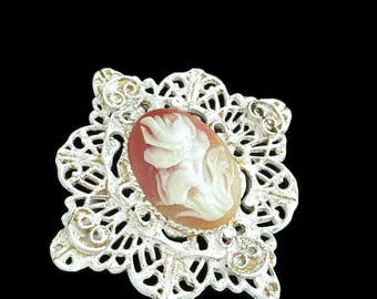Carved Flower Brooch Floral Victorian Jewelry Flower Cameo Antique Jewelry Repousse Jewelry Broach 3D Shell Cameo