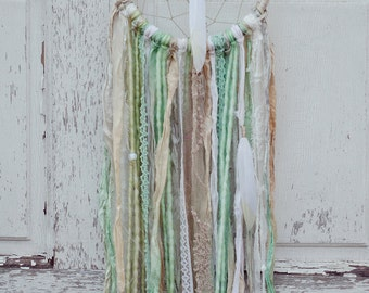 Pastel Bohemian Dreamcatcher, White, Mint Green, Boho Wall Decor, Lace Dreamcatcher, Cream, Wedding Gift, Boho Chic, Sari Silk, Wall Hanging