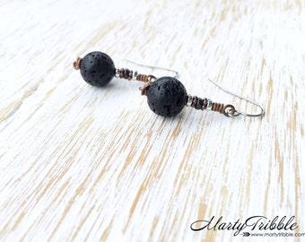 Lava Stone Earrings, Black Earrings, Stainless Steel Earrings, Hypoallergenic Earrings, Gemstone Earrings, Dangle Earrings, Lava Earrings