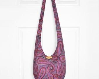 Hobo Bag Boho Bag Hippie Purse Crossbody Bag Sling Bag Hippie Bag Paisley Hobo Purse Bohemian Purse Handmade Purse Slouch Bag Boho Purse