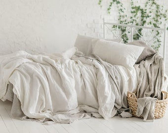 Flax Bedding Linen Set... Linen Duvet Cover and Two Pillowcases Queen Stonewashed Eco friendly - Custom size