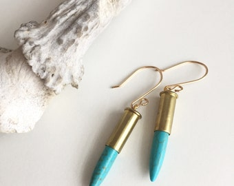 Bullet Earrings with Turquoise Spike, 22 Caliber Bullet Earrings, Hypoallergenic Turquoise Earrings, Women's Gift, Mother's Day Gift