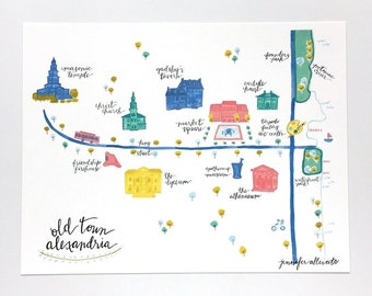 Old Town Alexandria illustrated map Virginia art print