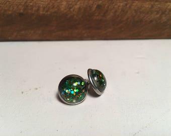 Green Glitter Resin Earring on stainless steel stud- 12mm