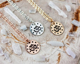 Om necklace. Silver or gold om necklace. Om symbol. Yoga necklace. Yoga jewelry. Yoga gift. Hand stamped om necklace in silver, gold or rose