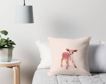 Little Fawn Cushion Cover Pink Linen Cotton Throw Pillow/ Forest Creature Woodland Fauna Deer/ Handmade to Order/ Ships in 4-5 wks