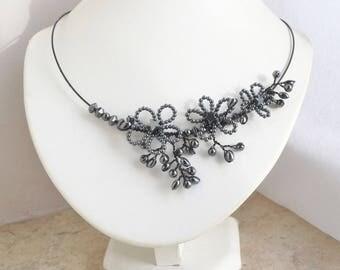 Hematite Statement Necklace with Wire Work Flower Design Collar Necklace