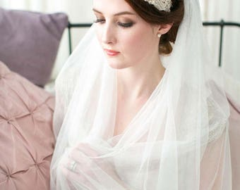 Georgia PURE SILK Wedding Veil in Double Tier or Single Tier in all lengths including elbow, fingertip, floor, chapel and cathedral