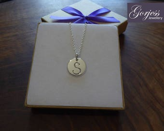 Handmade Silver Initial - S Necklace - Letter Pendant - Script Letter Necklace