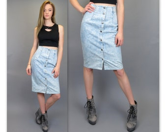 Vintage 80s 90s GUESS High Waisted Skater Skirt Denim Blue