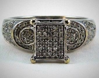 10K GOLD PAVE DIAMOND Ring Deco c1930