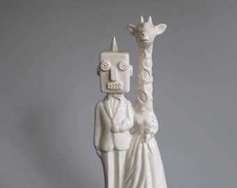 Robot and Giraffe  Wedding Cake Topper  Handmade