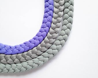 colourful choker, statement necklace, party necklace - The triple braid necklace - handmade with fabric