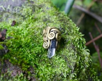 Gold Quartz Dread Bead READY TO SHIP Mori Woodland Fantasy Elf Fairy Renfaire Forest
