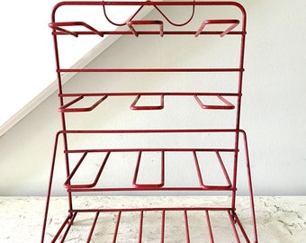 Vintage Display Rack Red Metal Wire Jewelry Ribbon