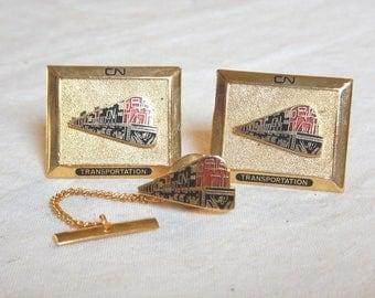 Vintage CNR Canadian National Railway Cufflink-Tie Tac Set CN Railroad Gold Tone-Enamel