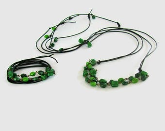Free Shipping Set Jewelry, Leather Wrap Necklace Bracelet, Green Stone Jewellery, Set Bracelet Necklace, Repurposed Jewellery