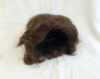 Spanish Hairpiece -- A voluminous brunette wig fashioned from real human hair -- Made in Spain