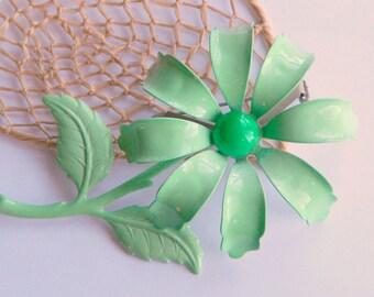 Beautiful Mod Mint Green Enamel Daisy Flower Statement Brooch- Spring Pastel Garden Chic Pretty Retro 1960's Funky Nature Mid Century