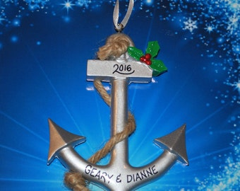 Personalized Boat Anchor Christmas Ornament