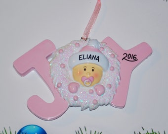 Personalized JOY Baby Girl Christmas Ornament