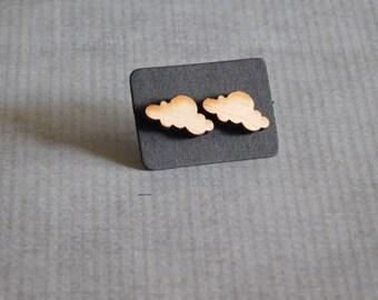 Cloud Stud Earrings : Cute Wood Jewelry