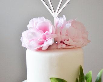 Diamond cake topper, geometrical cake topper, bridal shower cake topper, party decor