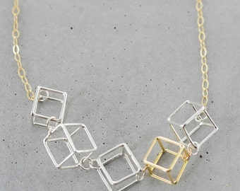 Tiny Five Cube Necklace, simple geometric necklace, cube charm necklace, modern geometric jewlery
