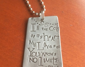 In the Core of My Heart My Love for you Knows No Limits Rumi Quote Hand Made Hand Stamped Metal Jewelry Pendant Art Tag Charm Word Necklace