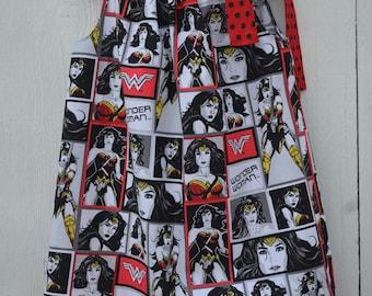Wonder Woman for Girls, Dress-Superhero, Wonder Woman Dress, Pillowcase Dress, Superhero Dress, Wonder Woman Clothing, Comic Dress