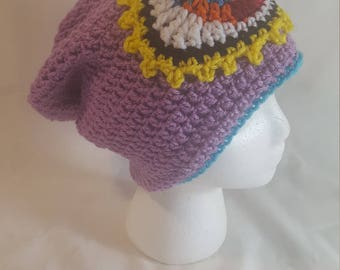 Purple Third Eye Slouch Beanie, Trippy Crochet Beanie, Rave Clothes, Crochet Rave Wear, Third Eye Blind, Purple Slouch Beanie, Psychedelic
