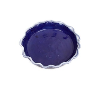 John Garrou Hand Turned Dish Cobalt Blue Bowl White Drips Black Mountain North Carolina Potter