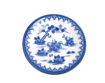Vintage Japanese Porcelain Blue and White Pin Dish Hirado Ware Style Karako Boys Chasing Butterflies Japan Asian Plate Tea Bags Spoon Rest