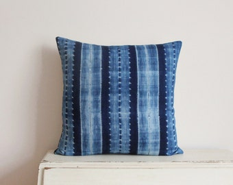 "Indigo Shibori pillow cushion cover 18"" x 18"""