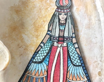 Ancient Egyptian Goddess Isis Earrings Hand Painted Watercolor Paper