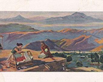 Socialist realism Russian vintage postcard (1960), M. Abegyan Lullaby, Soviet art print, genre art children kids mother family
